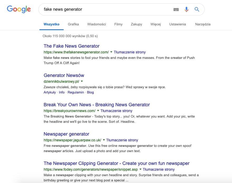Generatory fake newsów w sieci