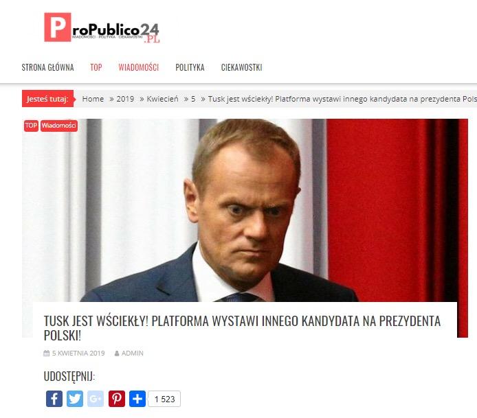 ProPublico24 przedwcześnie ogłosiło kandydata PO na prezydenta. Przekłamania po słowach opozycyjnej polityk