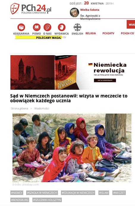 Katolickie medium przekazało niesłusznie, że każde niemieckie dziecko musi odbyć wizytę w meczecie