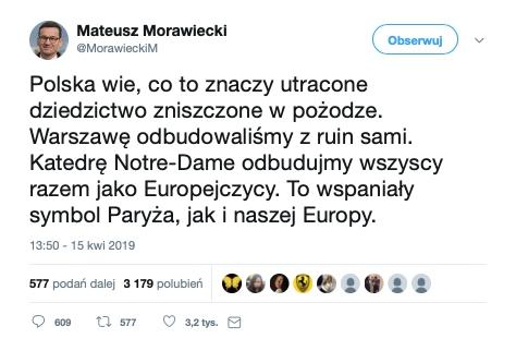 Redaktor serwisu Inna Polityka przeinaczył zamiary Mateusza Morawieckiego ws. odbudowy paryskiej katedry Notre-Dame