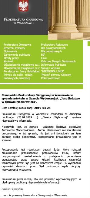 Gazeta Wyborcza przekazała nieprawdziwe informacje o śledztwie przeciw Antoniemu Macierewiczowi. Zdementowała je prokuratura