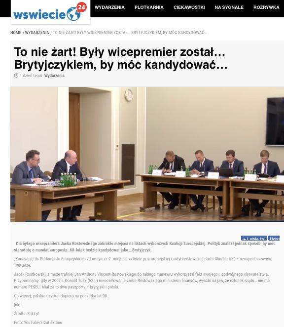 Wświecie24 przekazało, że Jacek Rostowski