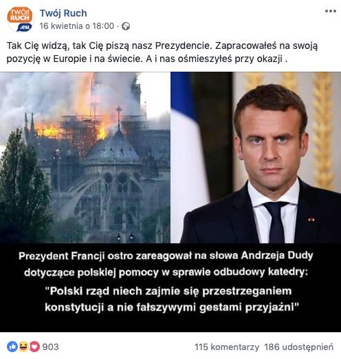 Fałszywy cytat Emmanuela Macrona o Polsce obiegł media społecznościowe tuż po pożarze Notre-Dame
