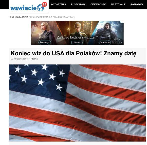 WŚwiecie24 ogłosiło, że zna datę zniesienia wiz do USA. Zmanipulowana wypowiedź ambasador Mosbacher
