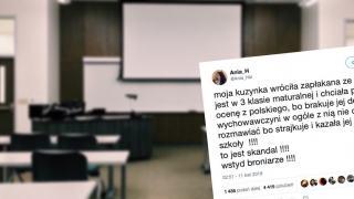 Wpis atakujący strajkujących nauczycieli