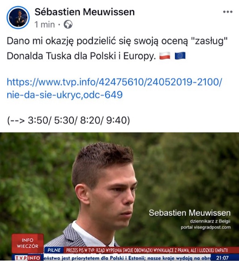 Kim jest Sebastien Meuwissen? Były stażysta TVP został przedstawiony jako belgijski dziennikarz w materiale krytycznym wobec D. Tuska