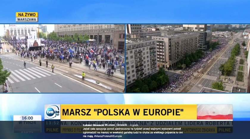 Sprzeczne informacje ws. frekwencji na marszu Polska w Europie obiegły sieć i rozpoczęły polityczną dyskusję