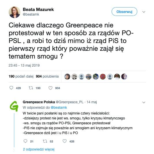 Beata Mazurek dokonała przekłamania w krótkim wpisie na Twitterze. Poprawili ją aktywiści Greenpeace