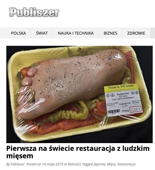 W serwisie Publiszer ukazał się tekst o restauracji serwującej ludzkie mięso. To fake news, który obiegł także zagraniczne media