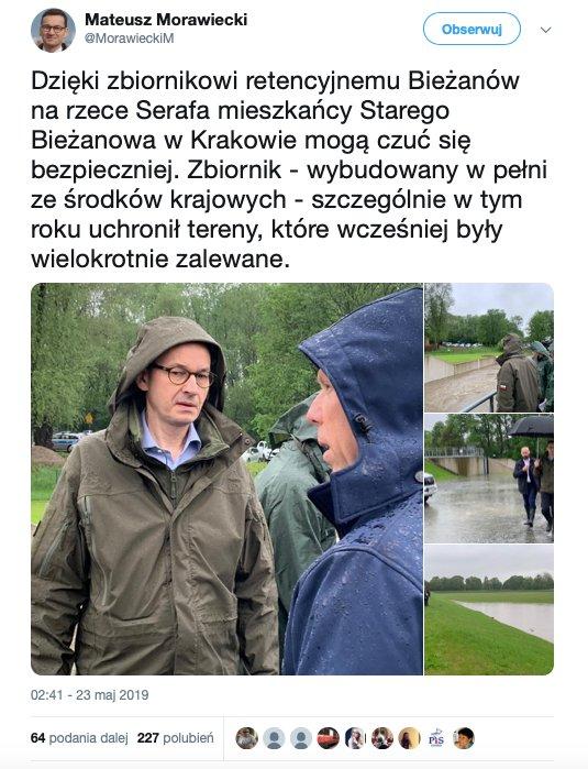 Internauci przyłapali Mateusza Morawieckiego na kłamstwie. Dotyczyło źródeł finansowania zbiornika retencyjnego Bieżanów