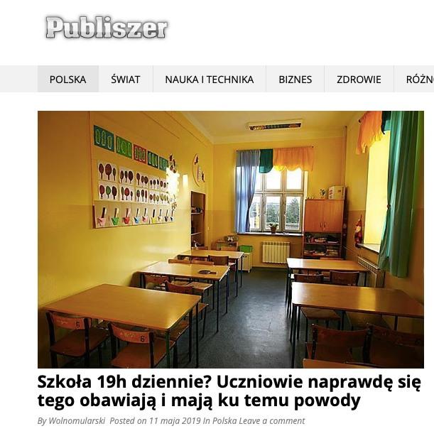 Publiszer poinformował, ze lekcje będą trwały nawet 19 godzin dziennie. Niesłusznie nastraszono uczniów oraz ich rodziców
