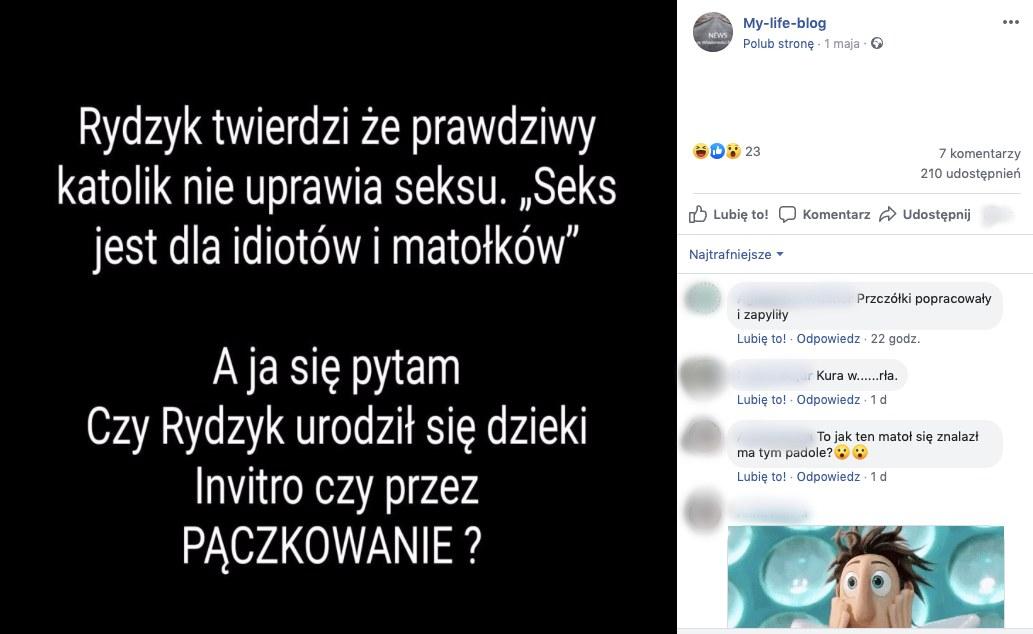 Grafika z nieprawdziwym cytatem ojca Rydzyka obiegła Facebooka. Miał stwierdzić, że życie seksualne jest dla idiotów i matołków