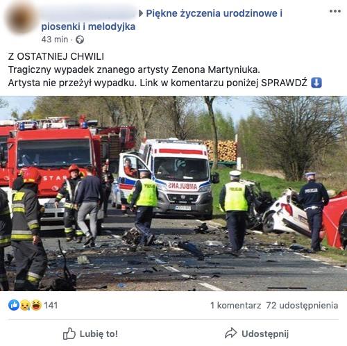 W sieci pojawiły się nieprawdziwe informacje o śmierci Zenka Martyniuka w wypadku samochodowym