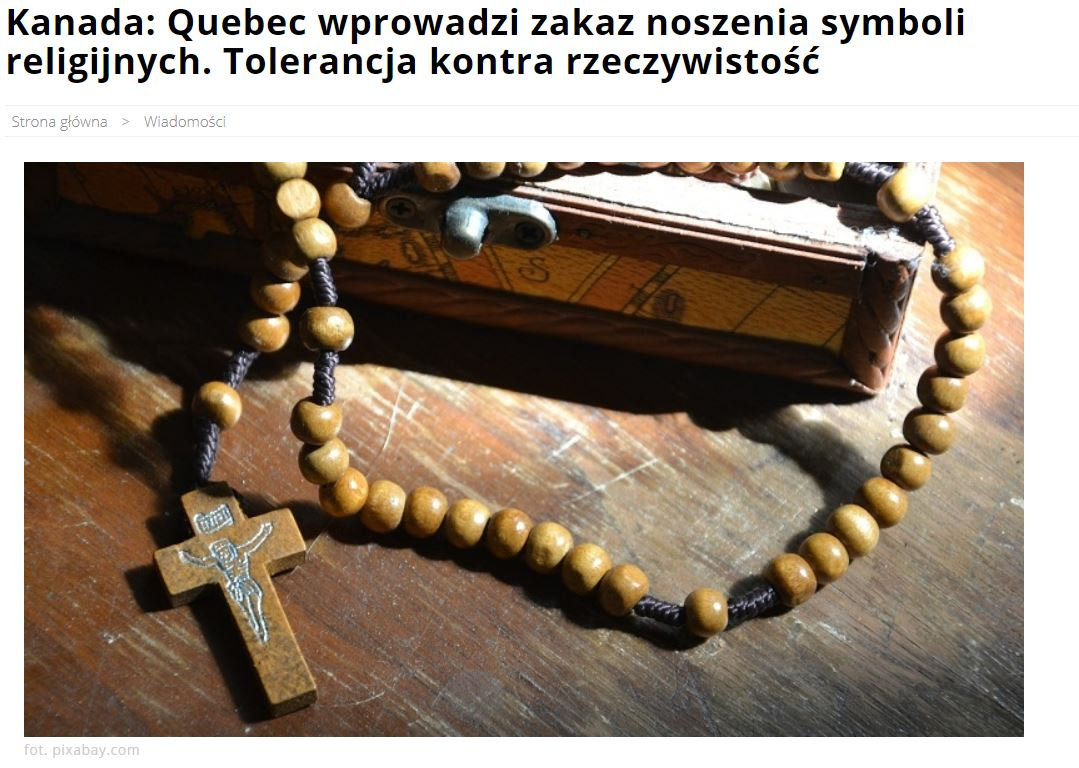 Niespójna reakcja prawicowych mediów na decyzję władz Quebecu dot. symboli religijnych