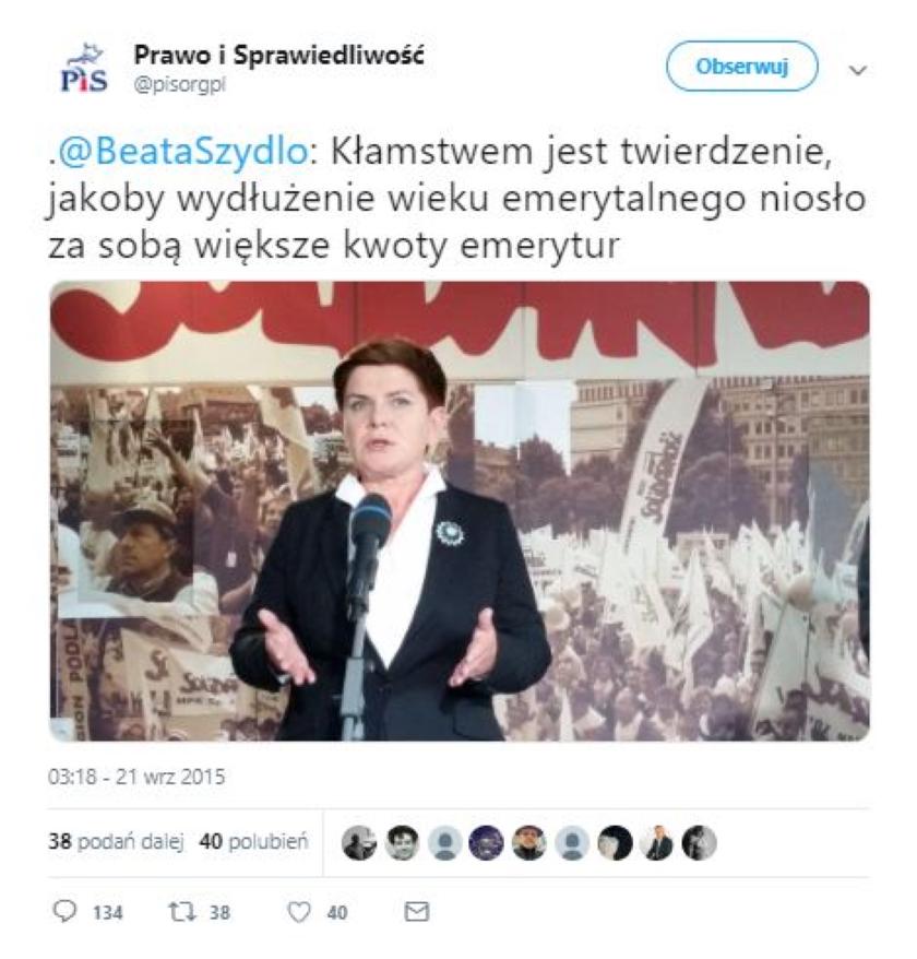 Internauci przypomnieli przekłamanie Beaty Szydło ws. podniesienia wieku emerytalnego