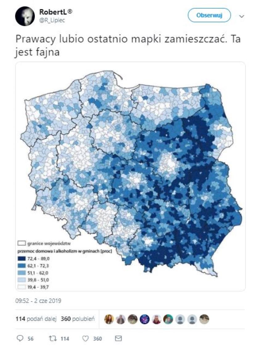 Fałszywa mapa, pokazująca zależność między wynikami wyborów do PE i przemocy domowej oraz alkoholizmu, obiegła Twittera