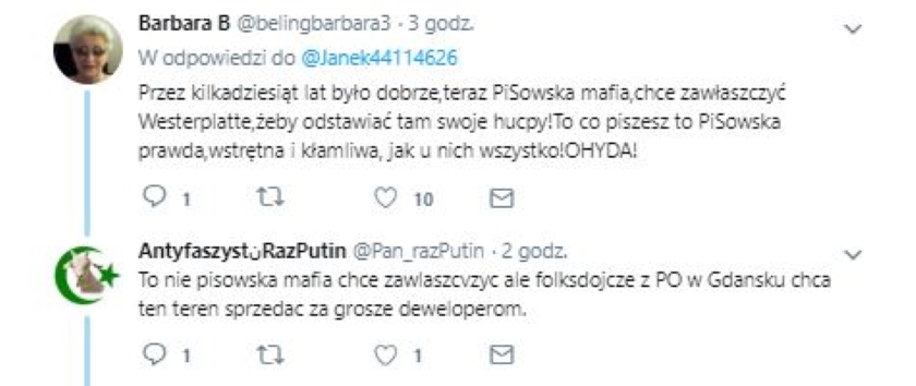 Po Twitterze krąży kłamliwy wpis, że PO chce na Westerplatte wybudować centrum handlowe. Podała go dalej Krystyna Pawłowicz