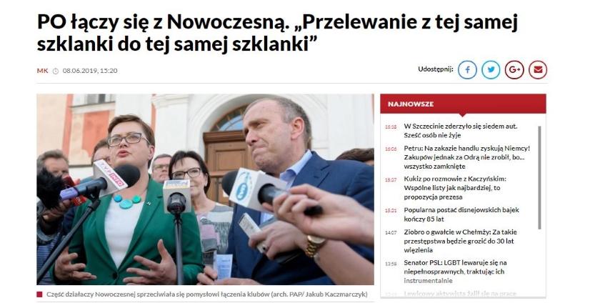 TVP Info przekazało w nagłówku, że PO łączy się z Nowoczesną. W rzeczywistości powstanie wspólny klub parlamentarny