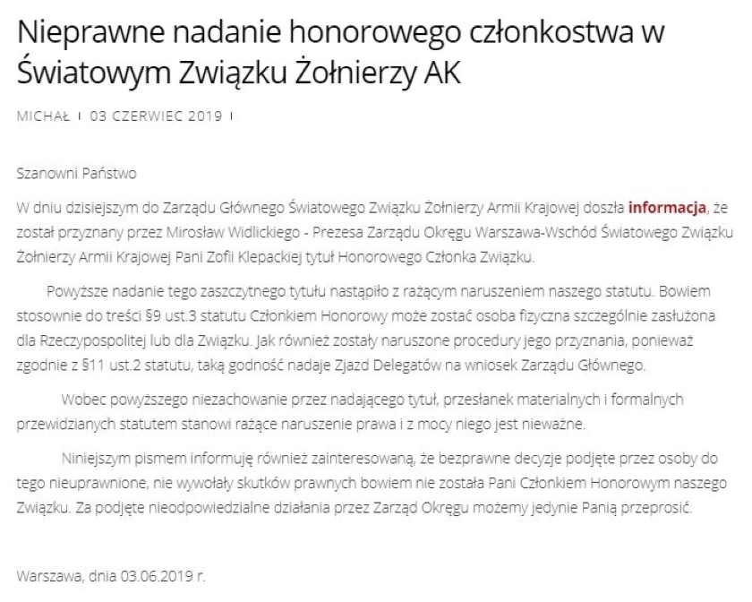 Czy Zofia Klepacka rzeczywiście została honorowym członkiem Światowego Związku Żołnierzy AK? Sieć obiegły mylące informacje