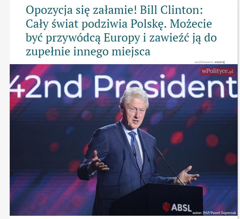 WPolityce zasugerowało, że Bill Clinton pochwalił dokonania polskich władz. To prawda, ale wszystkich od 89 roku