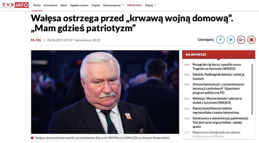 TVP Info oraz Najwyższy Czas! opisały wywiad Lecha Wałęsy dla GW. Nagłówki mogły wprowadzić w błąd wielu internautów