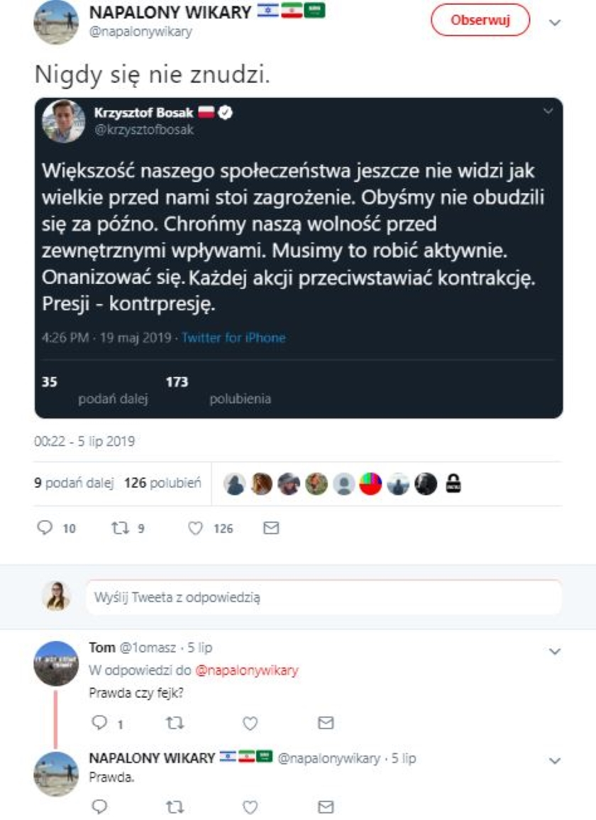 Tomasz Lis i fake na Twitterze