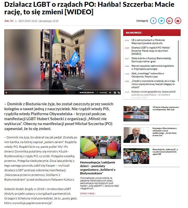TVP Info przytoczyło słowa działacza Miłość nie wyklucza. Z cytatu wycięto niekorzystny dla PiS fragment