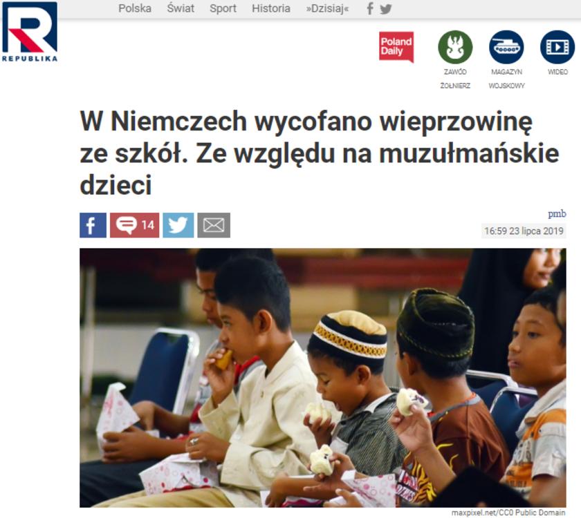 Koniec wieprzowiny w niemieckich szkołach przez muzułmańskie dzieci? Konserwatywny portal nie mówi całej prawdy