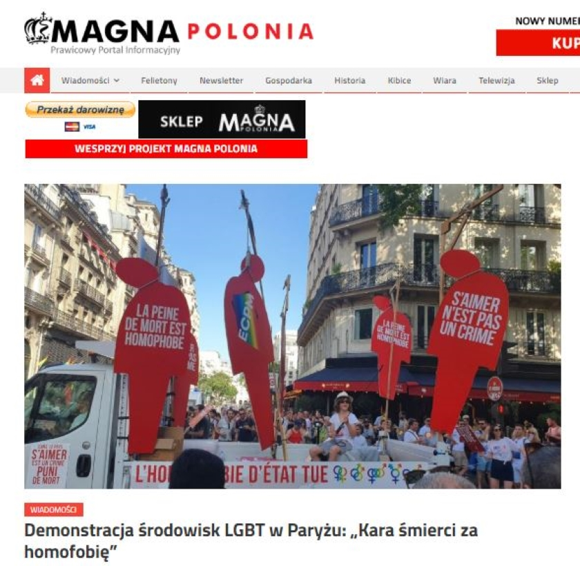TVP Info opublikowało fake newsa o paradzie równości w Paryżu. Niesłusznie przekazano, że uczestnicy promowali karę śmierci za homofobię