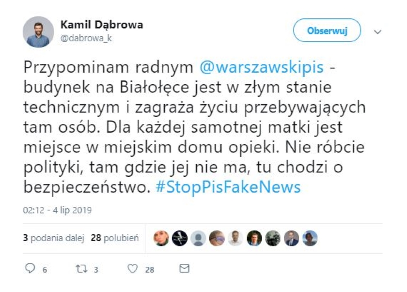 Spór wokół domu samotnej matki w Warszawie. Rzecznik Rafała Trzaskowskiego zarzuca radnym PiS rozpowszechnienie fake newsa