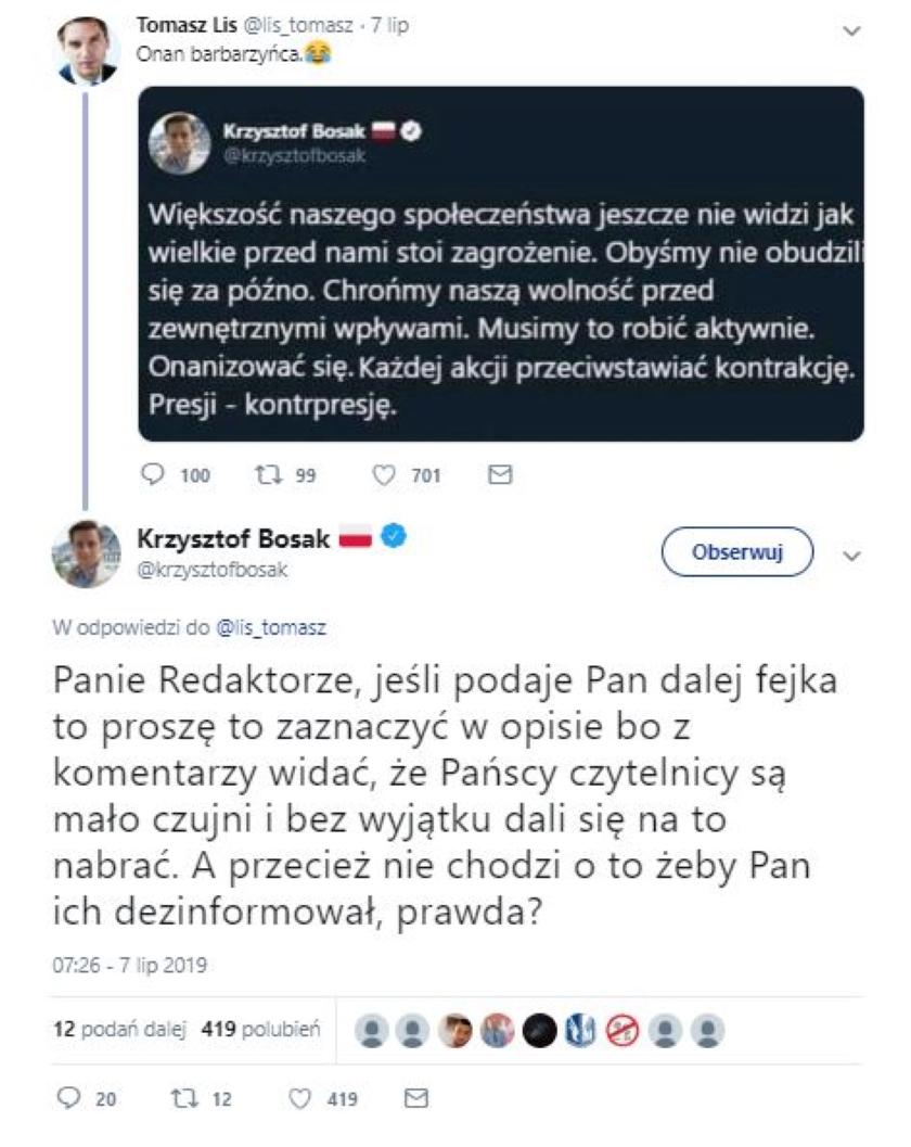 Tomasz Lis podał dalej fake'a