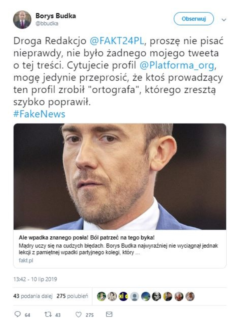 Afera wokół spektakularnego błędu ortograficznego na Twitterze PO. Media obwiniły Borysa Budkę, ten zaprzecza