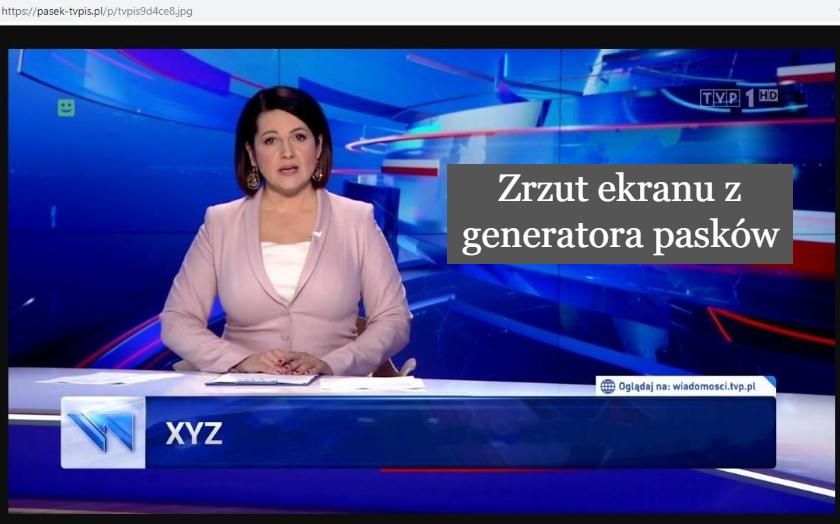 To nie jest prawdziwy pasek Wiadomości TVP. Powstał dla żartu, ale nabrało się na niego wielu internautów