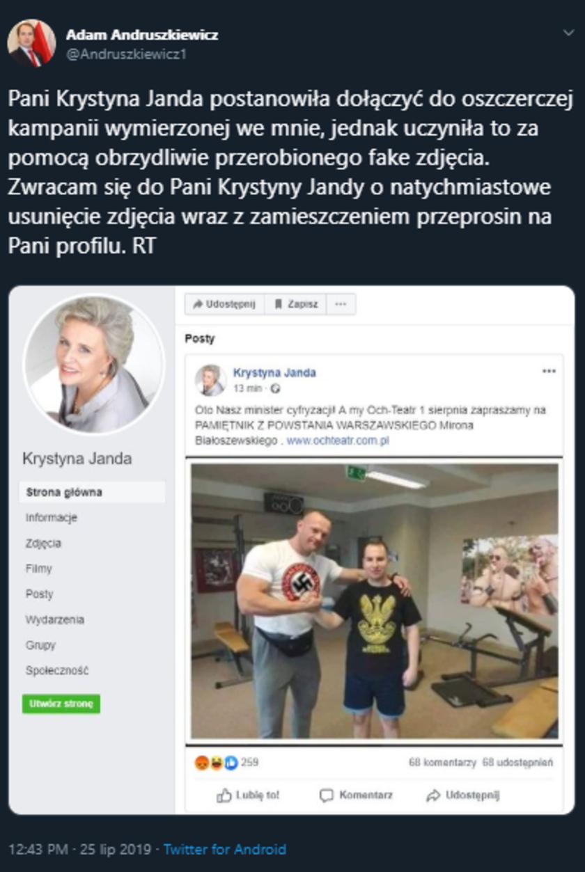 Krystyna Janda udostępniła przerobione zdjęcie wiceministra. Polityk żąda przeprosin