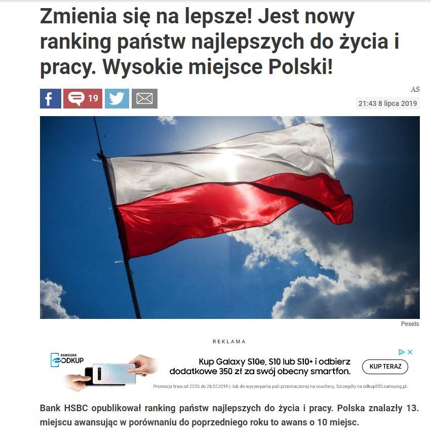 Polska awansowała w rankingu miejsc, polecanych do życia i pracy. Ale dla ekspatów