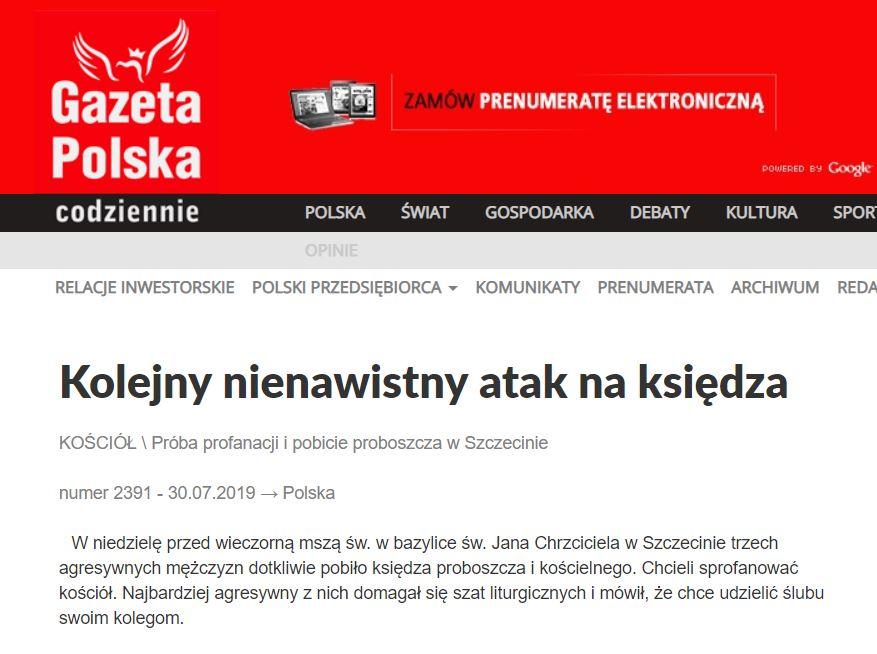 Powodem ataku na księdza w Szczecinie nie była chęć udzielenia homoseksualnego ślubu przez napastników