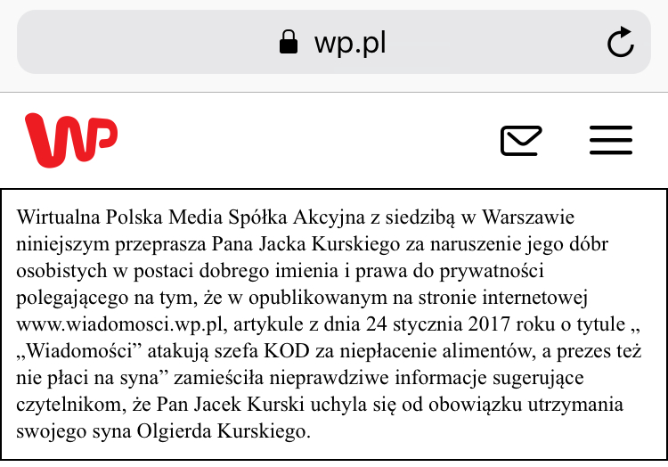 Wirtualna Polska przeprasza Jacka Kurskiego za przekazanie nieprawdziwych informacji na jego temat