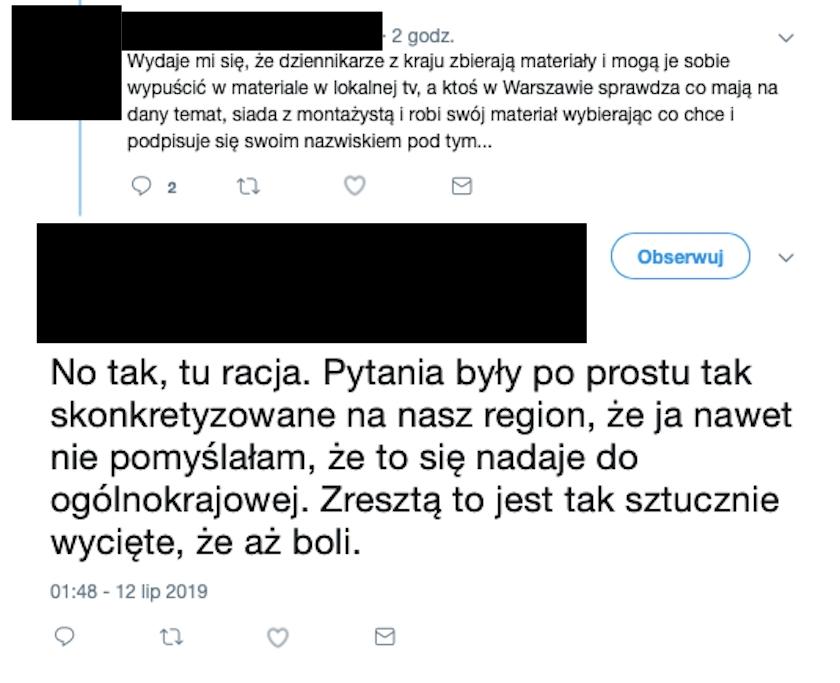 W materiale Wiadomości TVP o naborze do liceów zacytowano wypowiedź uczennicy. Jak sama twierdzi, słowa wyrwano z kontekstu w celach propagandowych