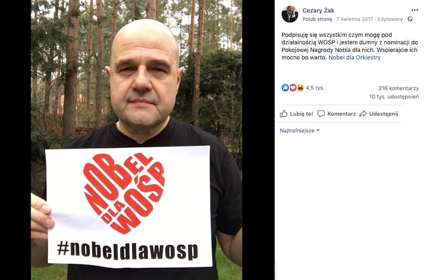 Przerobione zdjęcie znanego aktora obiega Facebooka. Chciał wesprzeć WOŚP, przypisano mu zmanipulowane słowa