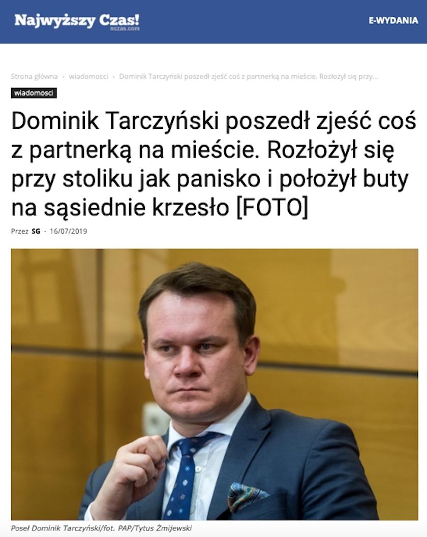 NCzas! i Publiszer pokazały głośne zdjęcia D. Tarczyńskiego z restauracji. Pomylono przy tym znaną posłankę PiS z partnerką polityka