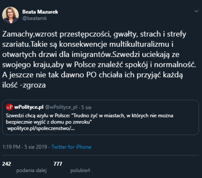 Beata Mazurek otrzymała odpowiedź szwedzkiego ministra
