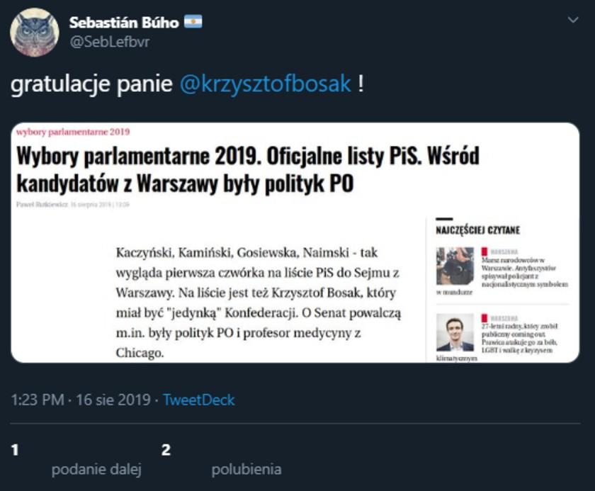 Krzysztof Bosak nie wystartuje z PiS