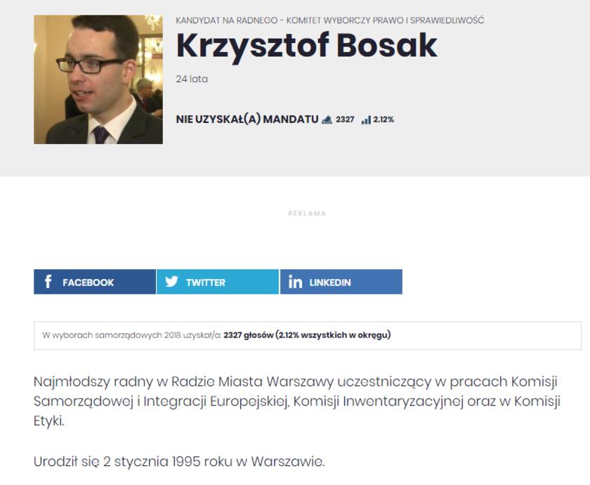 Krzysztof Bosak na listach wyborczych PiS