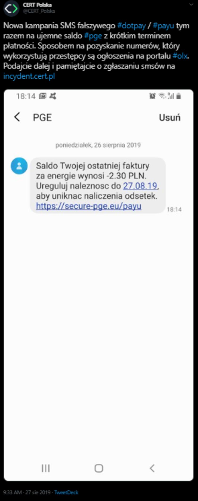 PGE nie rozsyła takich SMS-ów