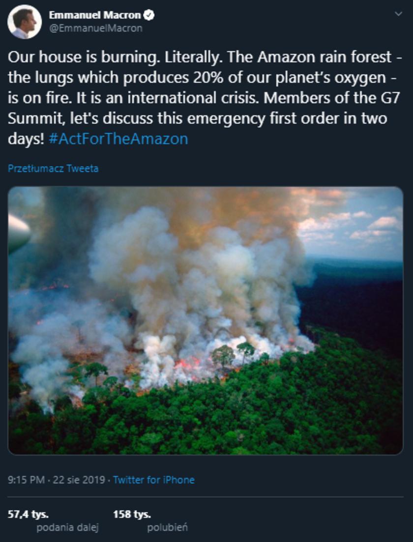 Pożary lasów w Amazonii wstrząsnęły światem