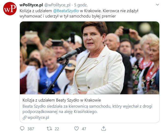 Beata Szydło została uznana sprawczynią kolizji. WPolityce publikuje sugestywną informację na temat stłuczki