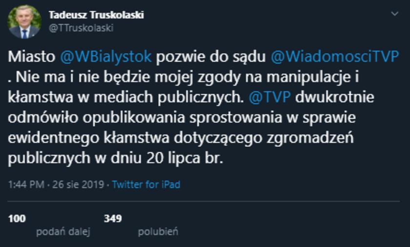 Tadeusz Truskolaski zapowiada pozew