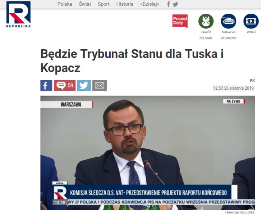 Telewizja Republika: Będzie Trybunał Stanu dla Tuska i Kopacz. Na razie jest jedynie wniosek
