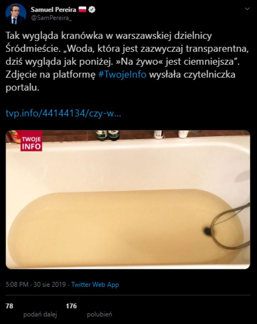 TVP Info pokazało brudną wodę, lecącą z warszawskich kranów. Nie ma nic wspólnego z awarią w oczyszczalni