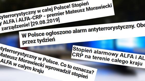 Pierwszy stopień alarmowy ALFA i ALFA-CRP wprowadzony w Polsce